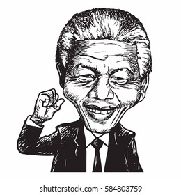 Nelson Mandela Cartoon Caricature Vector Illustration. February 22, 2017