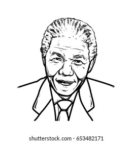 Nelson Mandela Hand Drawing outline, Nelson Mandela vector illustration