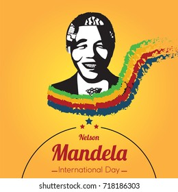 Nelson Mandela International Day, 18 July. Mandela portrait silhouette conceptual illustration vector.