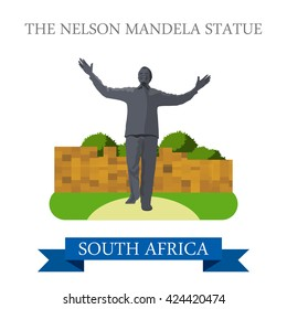 The Nelson Mandela Statue in Johannesburg in South Africa. Flat cartoon style historic sight showplace attraction web site vector illustration. World countries cities travel Africa collection.