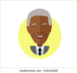 Nelson Mandela vector flat illustration