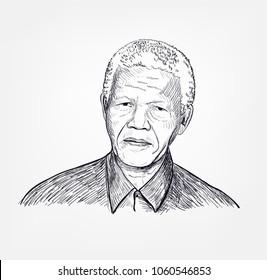 Nelson Mandela vector sketch portrait