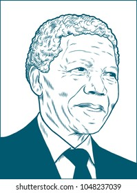 Nelson Rolihlahla Mandela. Vector Portrait Drawing Illustration. March 17, 2018