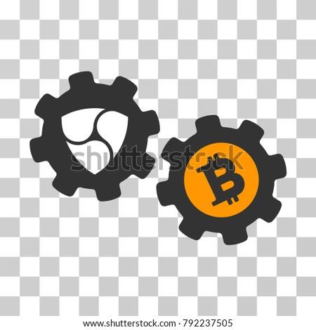 Nem Bitcoin Conversion Engine Vector Pictogram Stock Vector