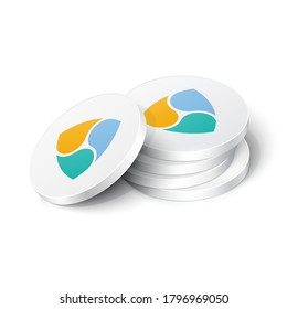 Nem cryptocurrency tokens. Vector illustration showing the symbol of the Nem cryptocurrency as a stack white physical 3d chips, coins in isometric view