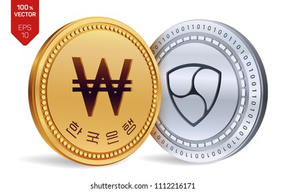 Nem. Won. 3D isometric Physical coins. Digital currency. Korea Won coin. Cryptocurrency. Golden and silver coins with Nem and Won symbol isolated on white background. Vector illustration.