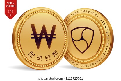 Nem. Won. 3D isometric Physical coins. Digital currency. Korea Won coin. Cryptocurrency. Golden coins with Nem and Won symbol isolated on white background. Vector illustration.