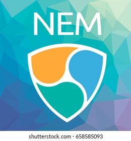 NEM XEM open-source crypto currency coin on blockchain technology vector icon. Nem or Xem sign for print and web.