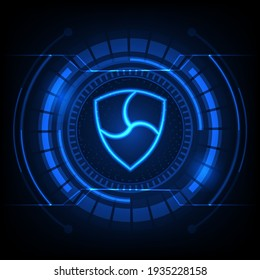 NEM (XEM) symbol with crypto currency themed background design. Modern neon color banner for NEM icon.Vector illustration. EPS.10