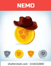 nemo in cowboy hat. nemo. Digital currency. Crypto currency. Money and finance symbol. Miner bit coin criptocurrency. Virtual money concept. Cartoon Vector illustration.