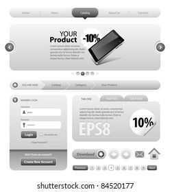 Neo Cool Gray Graphite Website Design Elements: Buttons, Form, Slider, Scroll, Icons, Tab, Menu, Navigation Bar, Bread crumbs