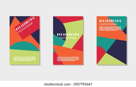 Neo Geometric Poster Design Template Vector with Blue, Red, Green Colors, useful for flyer, business presentation, branding package, invitation card, web background, banner, book cover