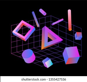 Neo memphis/ vaporwave 3d illustration. Perspective neon laser grid and 3d shapes on dark background, polygon, cube, prism, cylinder, cuboid, ect. Futuristic print for t-shirt, notebook, poster.