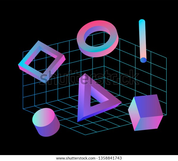 Neo Memphis Vaporwave 3d Illustration Perspective Stock