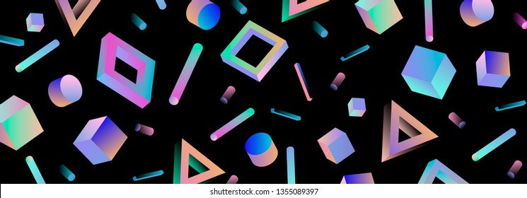 Neo memphis/ vaporwave sci-fi abstract background. Neon holographic chromatic 3d shapes - polygon, cube, prism, cylinder, cuboid, ect. Retrofuturistic print for t-shirt, notebook, poster, cover.