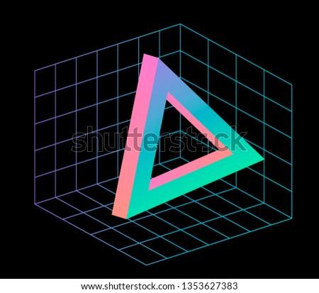 official photos cef58 5b4d4 Neo memphis  vaporwave  webpunk 3d illustration. Perspective neon laser  grid on Cartesian coordinate