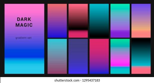 "Neo noir neon gloomy palette ""Dark Magic"", gradient swatches for design. Trendy acid colors: purple, blue, and pink duotone gradients, retrowave 80s-90s aesthetics."
