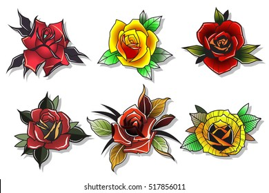 Neo Traditional Tattoo Roses Set Vector Flowers Collection