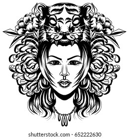 Neo Traditional Tattoo style, Native American girl with Tiger headdress Lineart old school tattoo