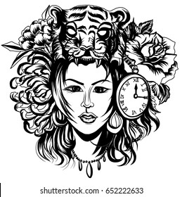 Neo Traditional Tattoo style ,Native American girl with Tiger headdress Lineart old school tattoo