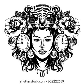 Neo Traditional Tattoo style ,Native American girl with Tiger helmet and clock Line art old school tattoo.Tiger helmet with beautiful girl tattoo.