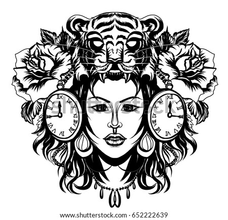 Neo Traditional Tattoo Style Native American Stock Vector Royalty