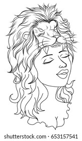 Neo Traditional Tattoo style ,Outline Women in mask of a lion and flower, Hand drawn vector