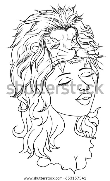Neo Traditional Tattoo Style Outline Women Stock Vector Royalty