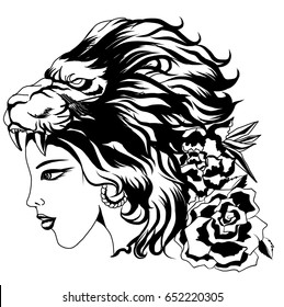 Neo Traditional Tattoo style ,the girl in the mask of a lion and flower, Native American Girl with lion  headdress Lineart old school tattoo