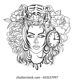 Neo Traditional Tattoo style ,Women with a Tiger's head instead of a hat and clock, old school tattoo