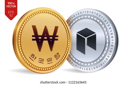 Neo. Won. 3D isometric Physical coins. Digital currency. Korea Won coin. Cryptocurrency. Golden and silver coins with Neoa and Won symbol isolated on white background. Vector illustration.