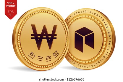Neo. Won. 3D isometric Physical coins. Digital currency. Korea Won coin. Cryptocurrency. Golden coins with Neo and Won symbol isolated on white background. Vector illustration.