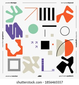 Neomodern aesthetics of brutalism design vector poster cover layout made with abstract elements and geometric shapes, useful for poster art, website design, album cover prints, fine arts images.