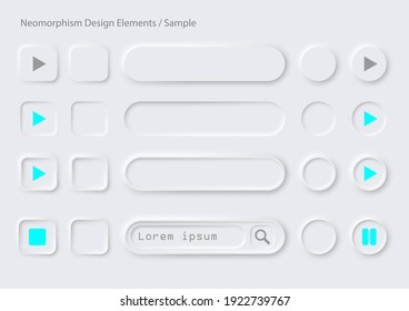 Neomophism design elements.It includes convex and collapse buttons, round, rectangular, long oval, text search buttons with sample symbols.There are on white background.