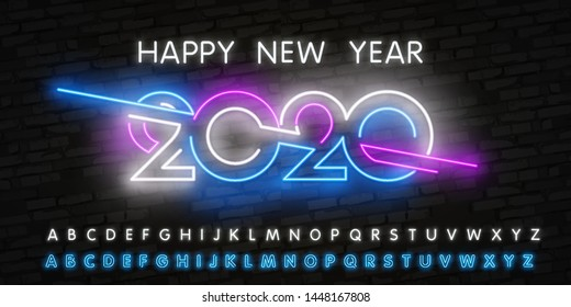 Neon 2020 symbol on luminous neon background. Neon 2020 Happy new year. Vector illustration witn realistic blue and pink neon tubes on walls. Light Happy new year.