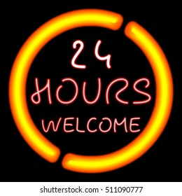 A neon 24 hours welcome sign glowing yellow in the window.