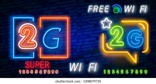 Neon 2G new wireless internet wifi connection neon sign vector. 2G Design template neon sign, light banner, neon signboard, nightly bright advertising, light inscription. Vector illustration