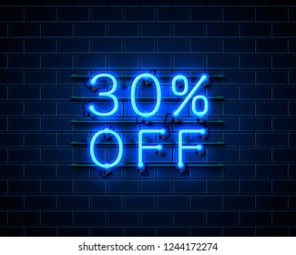 Neon 30 off text banner. Night Sign. Vector illustration