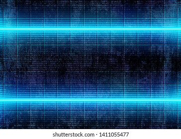 Neon 3D Glow Lights Design, Futuristic Cyberpunk Background with Abstract Blue Energy Lines on the Dirty Grunge Wall, Conceptual Technology Style. Eps10 Vector Illustration – Vector.