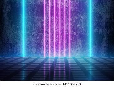 Neon 3D Glow Lights near the Dirty Grunge Wall, Futuristic Cyberpunk Room, Abstract Background with Blue and Violet Energy Lines, Conceptual Tomorrow Aesthetic Interior Style, Eps10 Vector Illustratio