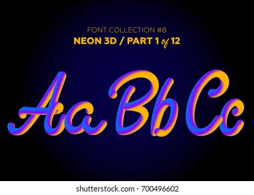 Neon 3D Typeset with Rounded Shapes. Font Set of Painted Letters. Matte Liquid Purple and Yellow Colors. Night Glow Effect. Tube Alphabet. ABC for DJ Poster, Sale Banner, Signboard, Advertising.