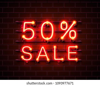 Neon 50 sale text banner. Night Sign. Vector illustration