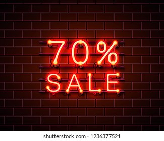 Neon 70 sale text banner. Night Sign. Vector illustration