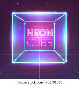Neon 80s styled cube on retro game landscape. Vector glowing box.