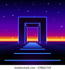 Neon 80s styled massive gate in retro game landscape with shiny road.