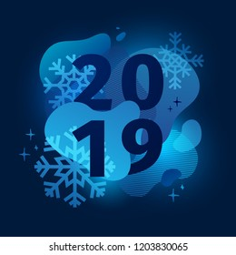 Neon Abstract geometric design for the happy new year 2019. Holiday offer night banner with vector liquid form and decor snowflakes on dark background. Blue template graphic with fluid dynamic shape.