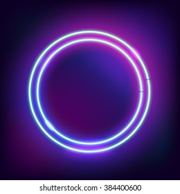 Neon abstract round. Glowing frame. Vintage electric symbol. Burning a pointer to a black wall in a club, bar or cafe. Design element for your ad, sign, poster, banner. Vector illustration