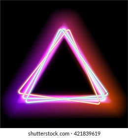 Neon abstract triangle background for your design. Luminous electric triangle frame with empty place