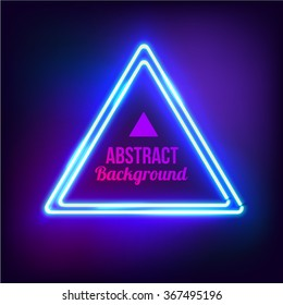 Neon abstract triangle. Glowing frame. Vintage electric symbol. Burning a pointer to a black wall in a club, bar or cafe. Design element for your ad, sign, poster, banner. Vector illustration