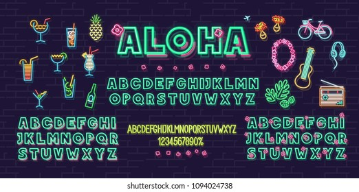 Neon aloha summer icons and font set isolated on brick wall background. For logo, poster, banner. Headline and small condensed uppercase letters.